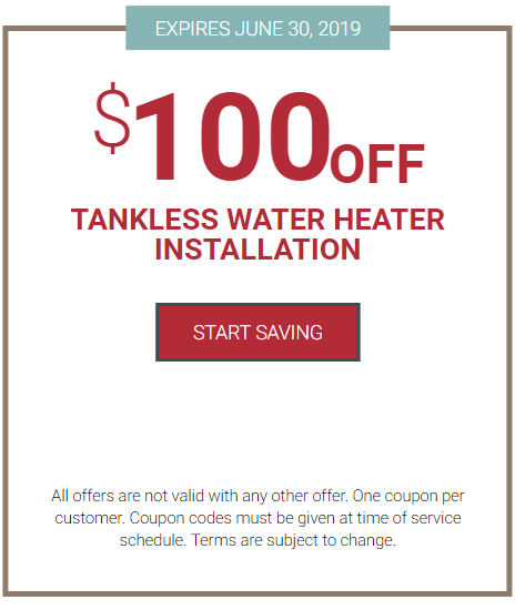 $100 off tankless water heater installation coupon
